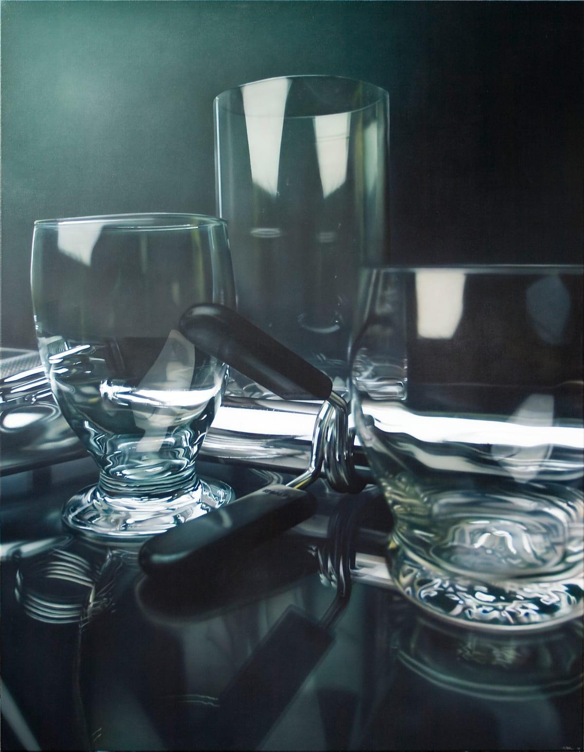 Tom Martin Three Glasses Acrylic on canvas 114.5 x 152.5 cm