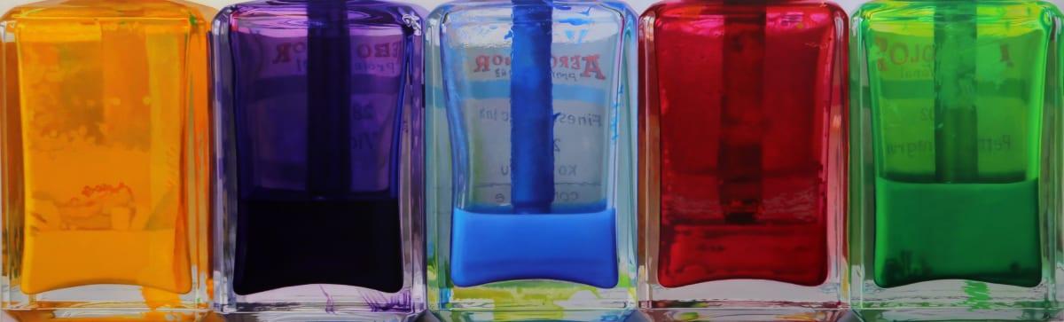 Javier Banegas Five Colours Oil on board 61 x 200 cm