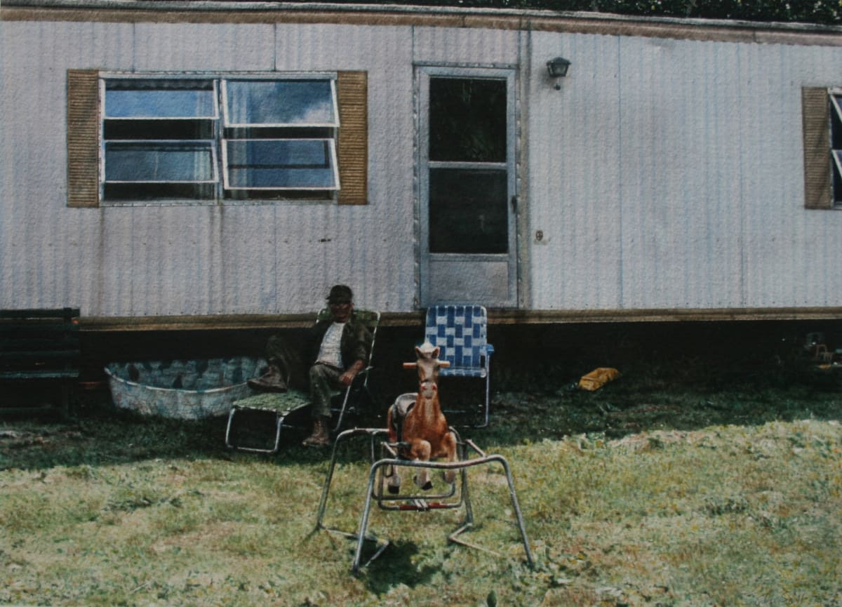 John Salt Trailer with Rocking Horse, 1974-75 Watercolour on paper Framed: 68.5 x 78.5 cm 30 x 42 cm