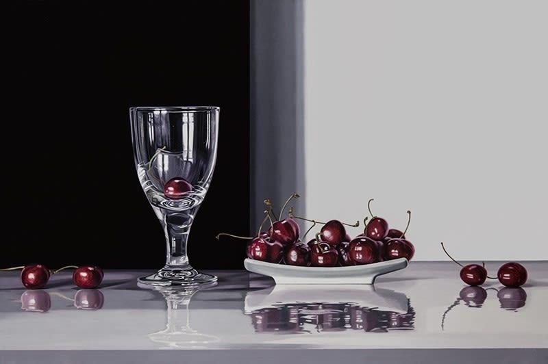 Elena Molinari Cherries Oil on canvas 97 x 146 cm