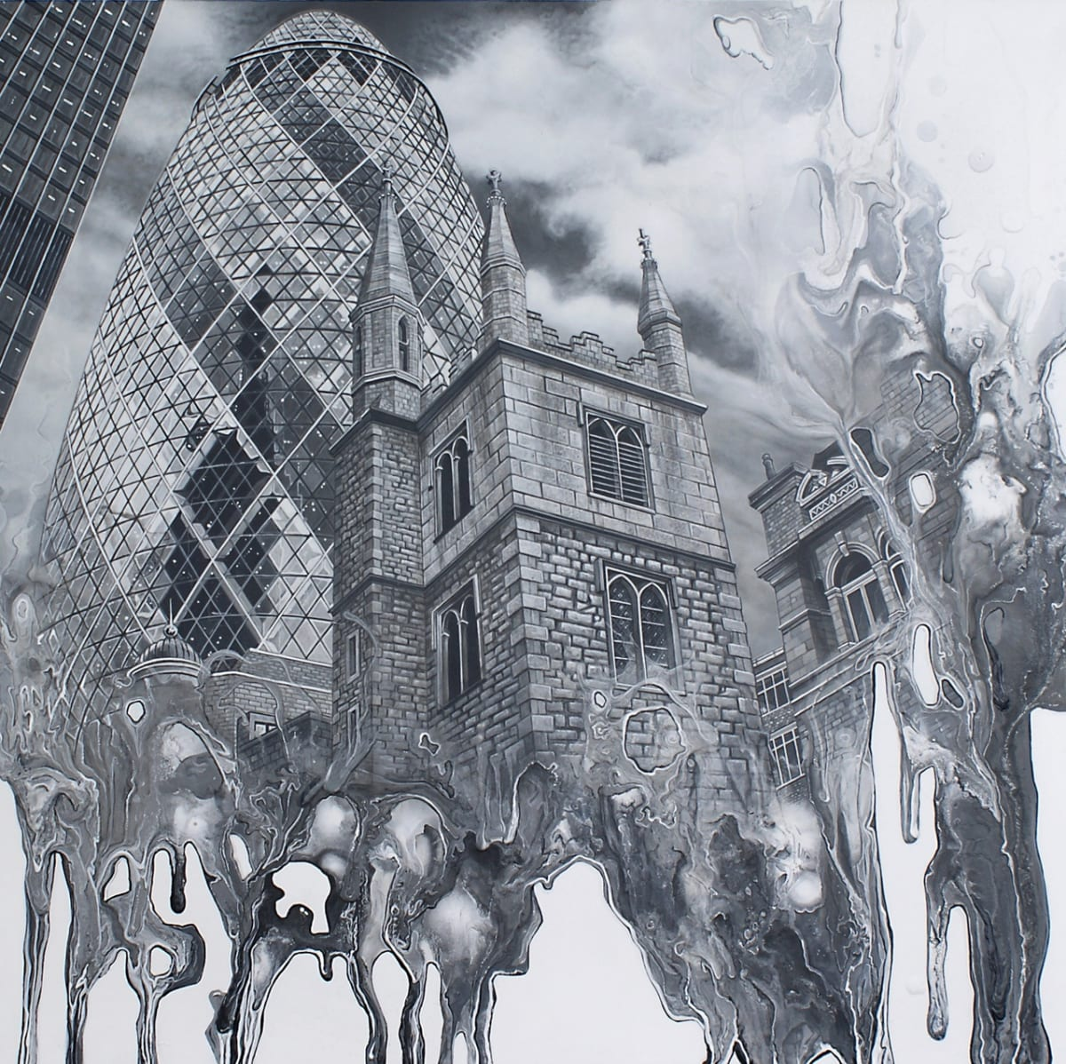 Simon Hennessey Lost Souls of the City Acrylic on panel 65 x 65 cm
