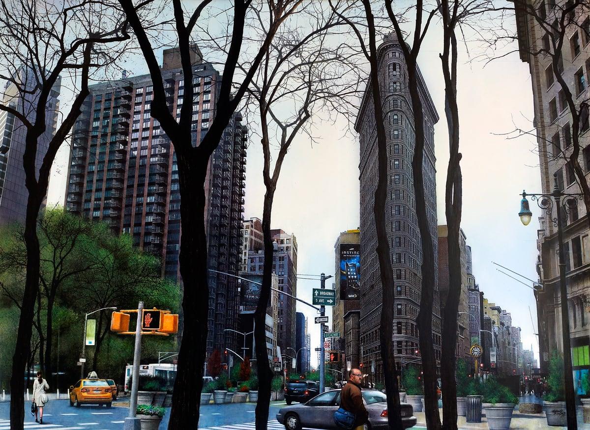 Andres Castellanos Flatiron Building Acrylic on board 73 x 100 cm