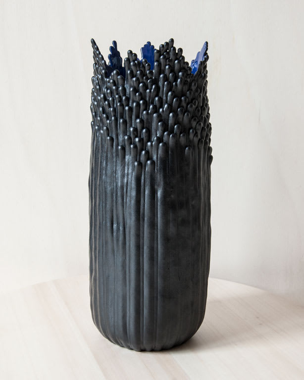 Grand Vase Floral Noir - Blue