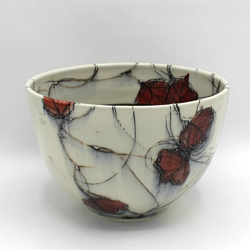 Dawn Candy, Red Leaf Wrap-Around Bowl, 2020