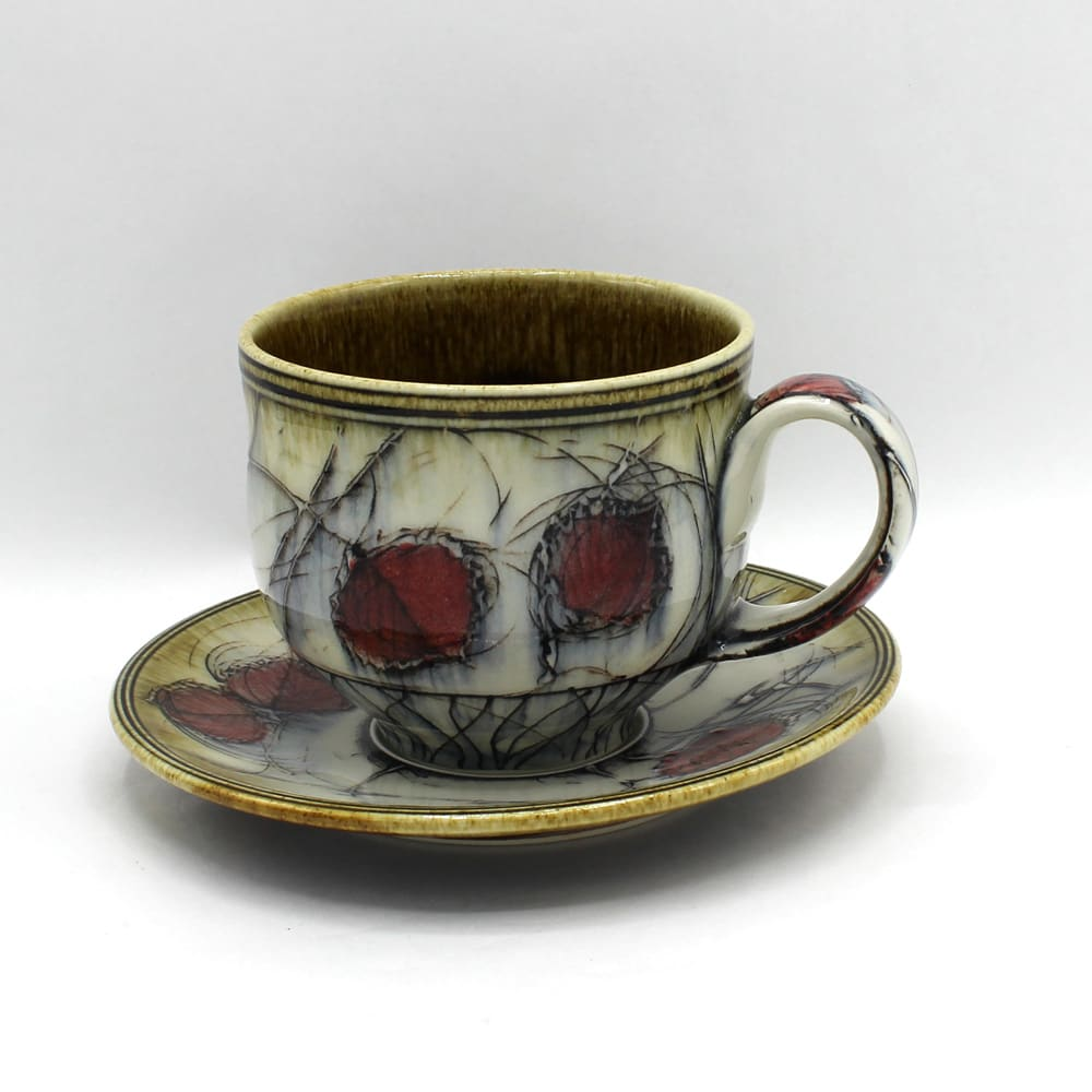 Dawn Candy, Red Birch Cup and Saucer Set, 2020