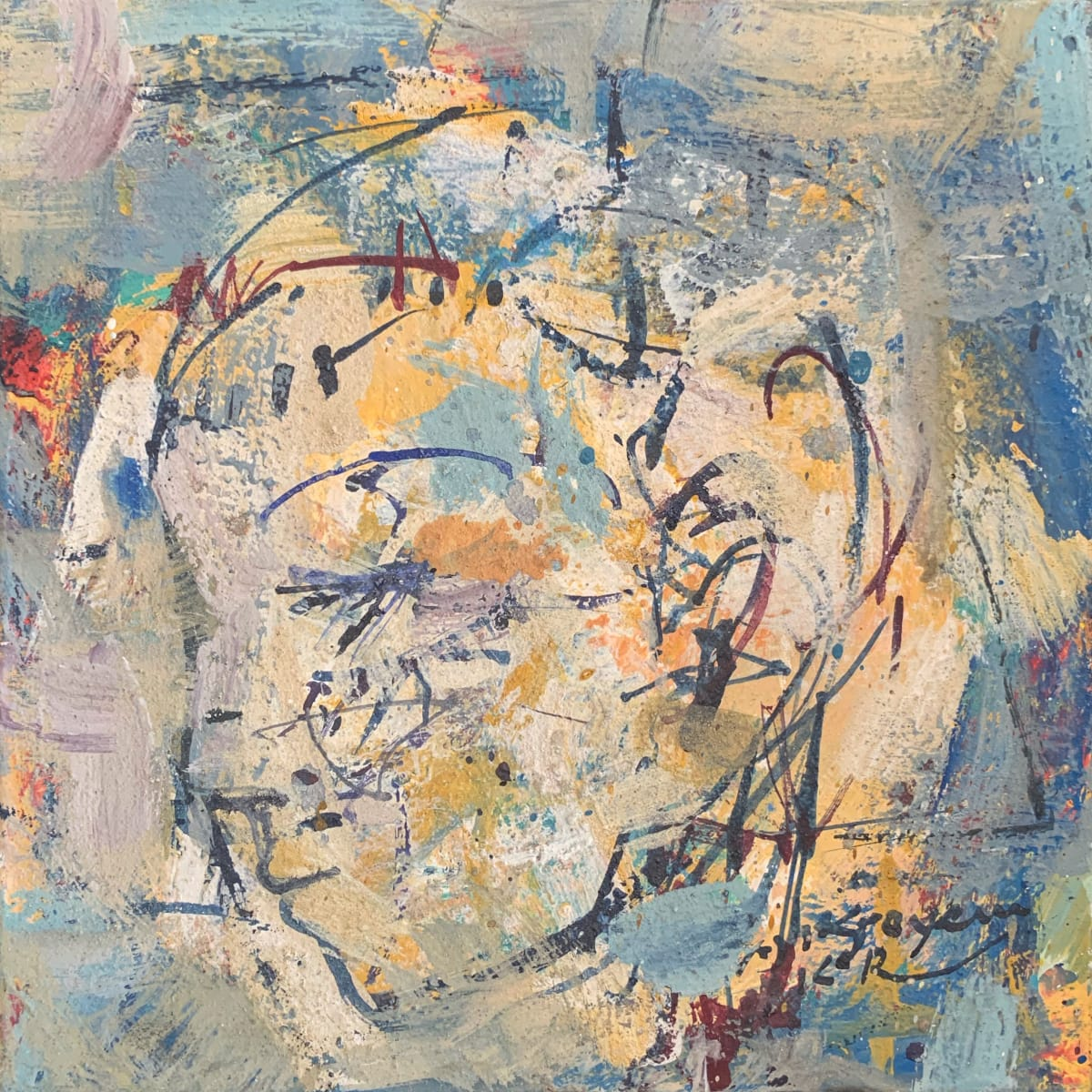 Krayem Maria Awad Untitled , 2019 Pigment on Linen 30 x 30 cm 11 3/4 x 11 3/4 in