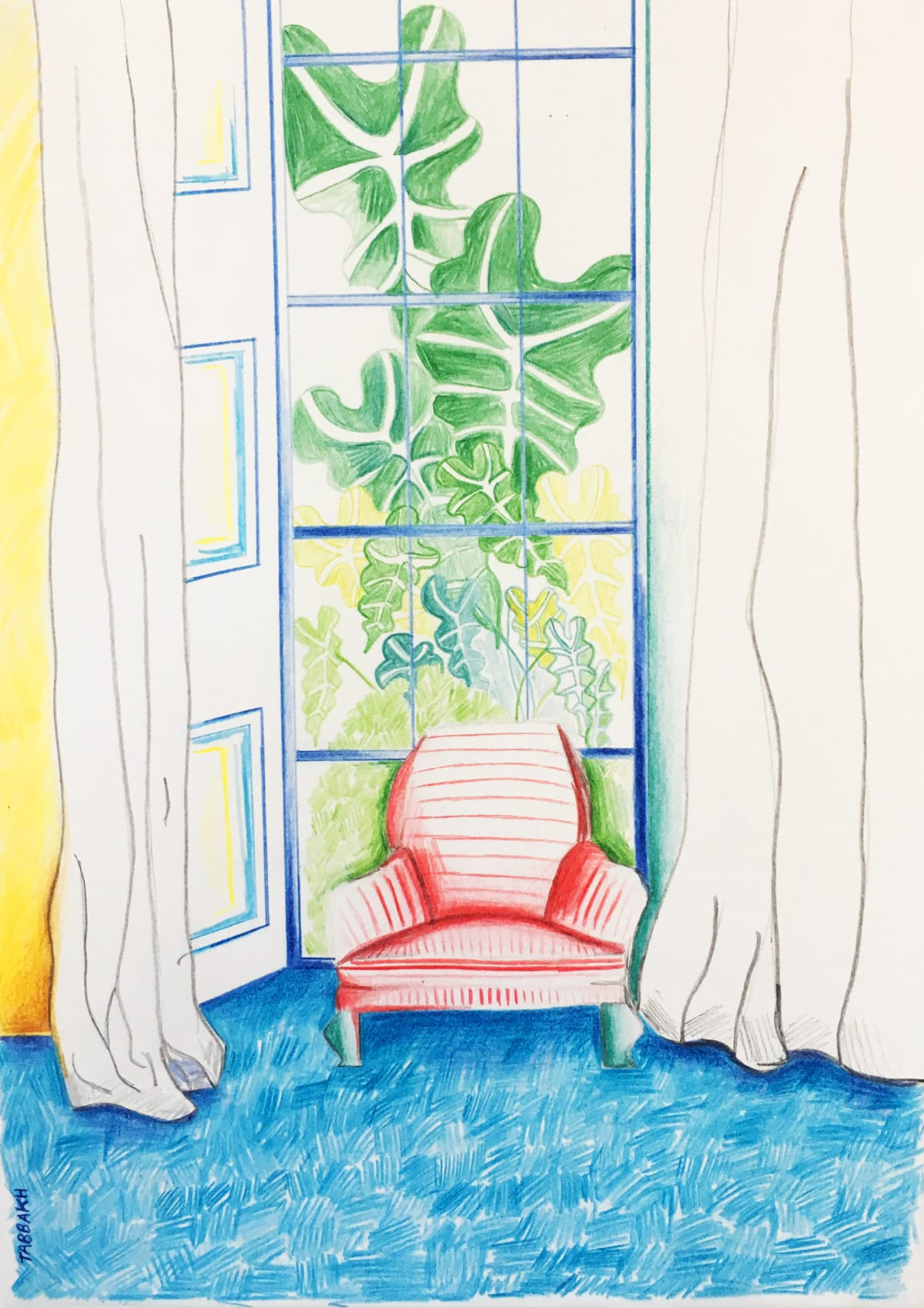 Cathy Tabbakh Blurry Garden , 2019 Colored Pencils on Paper 21 x 29 cm 8 1/4 x 11 3/8 in
