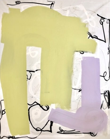 Danni Pantel Key to the kingdom to the mall after school, 2018 Acrylic, lacquer and aerosol paint on canvas 69 x 57 1/2 in 175 x 145 cm