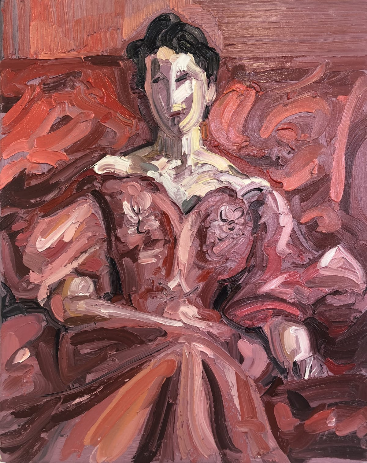 Frans Smit After Sargent, Lady in Red Dress, 2018 Oil on Canvas 19 1/2 x 16 in 50 x 40 cm