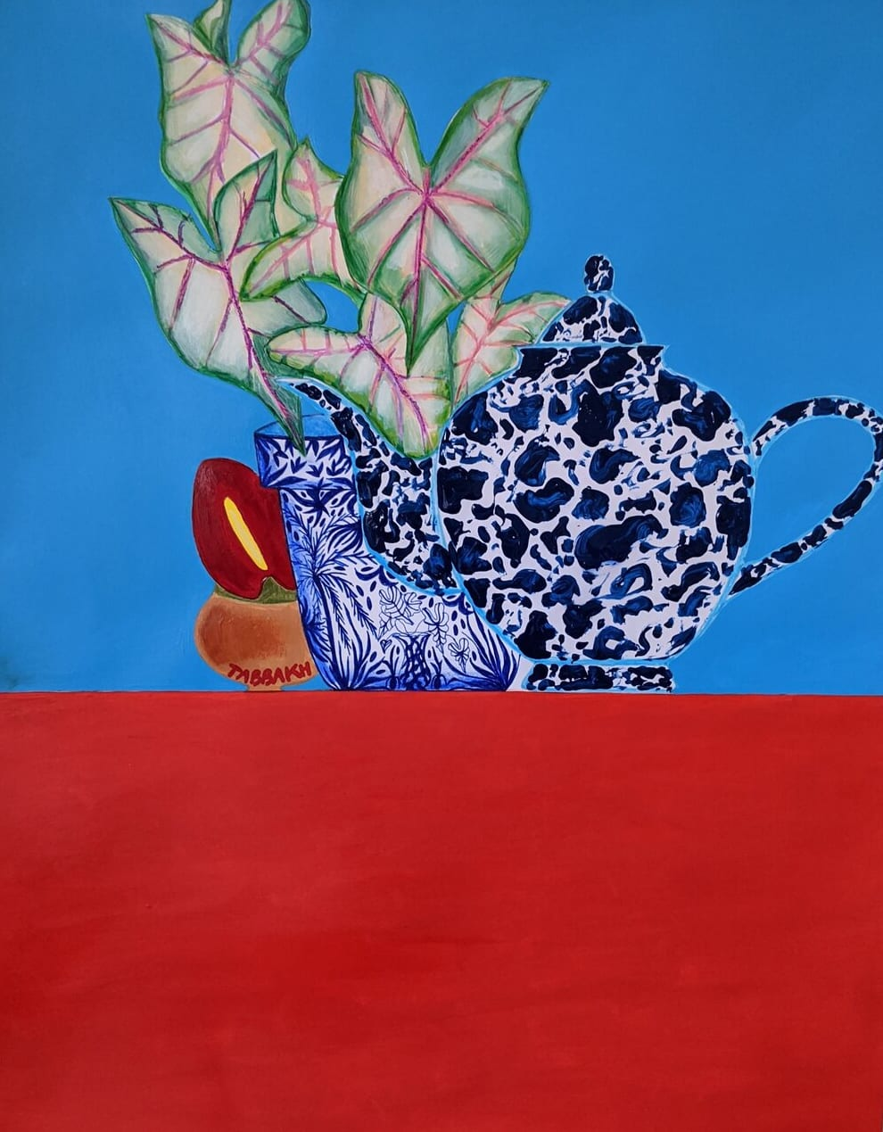 Cathy Tabbakh Teapot, Plant Pot and Little Pot, 2020 Ink, Acrylic and Oil Pastels on Canvas 45 x 60 cm 17 3/4 x 23 5/8 in