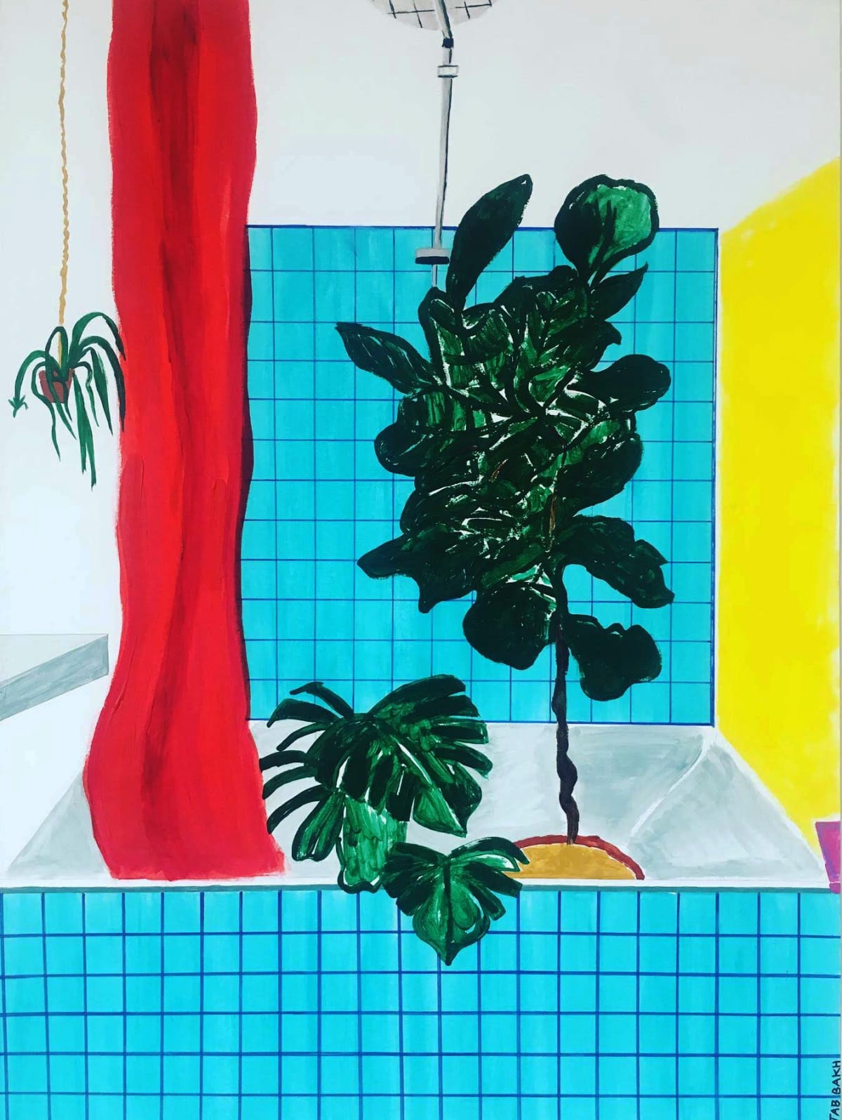 Cathy Tabbakh Modern Gardening , 2019 Ink, Acrylic and Felt Tip on Paper 42 x 57 cm 16 1/2 x 22 1/2 in
