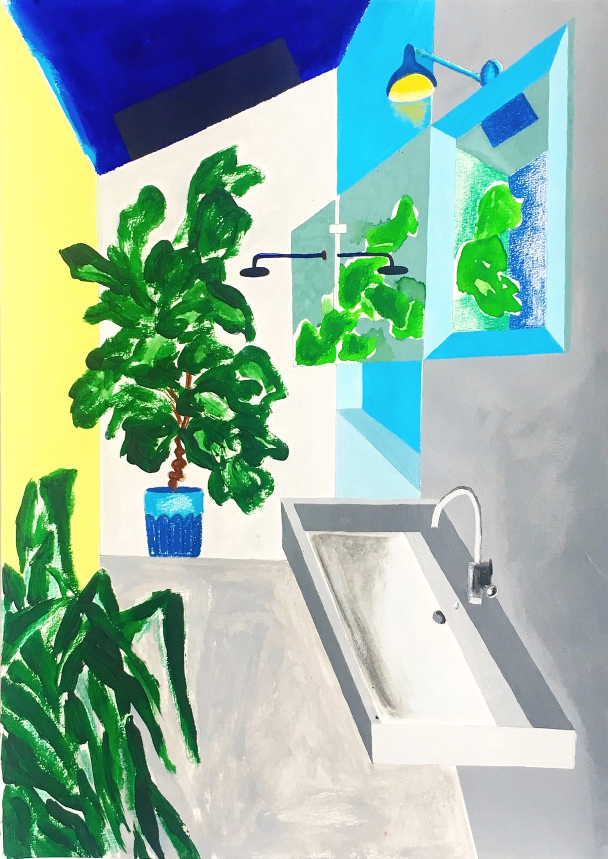 Cathy Tabbakh Modern Sink , 2019 Acrylic and Oil Pastels on Canvas 29 x 42 cm 11 3/8 x 16 1/2 in