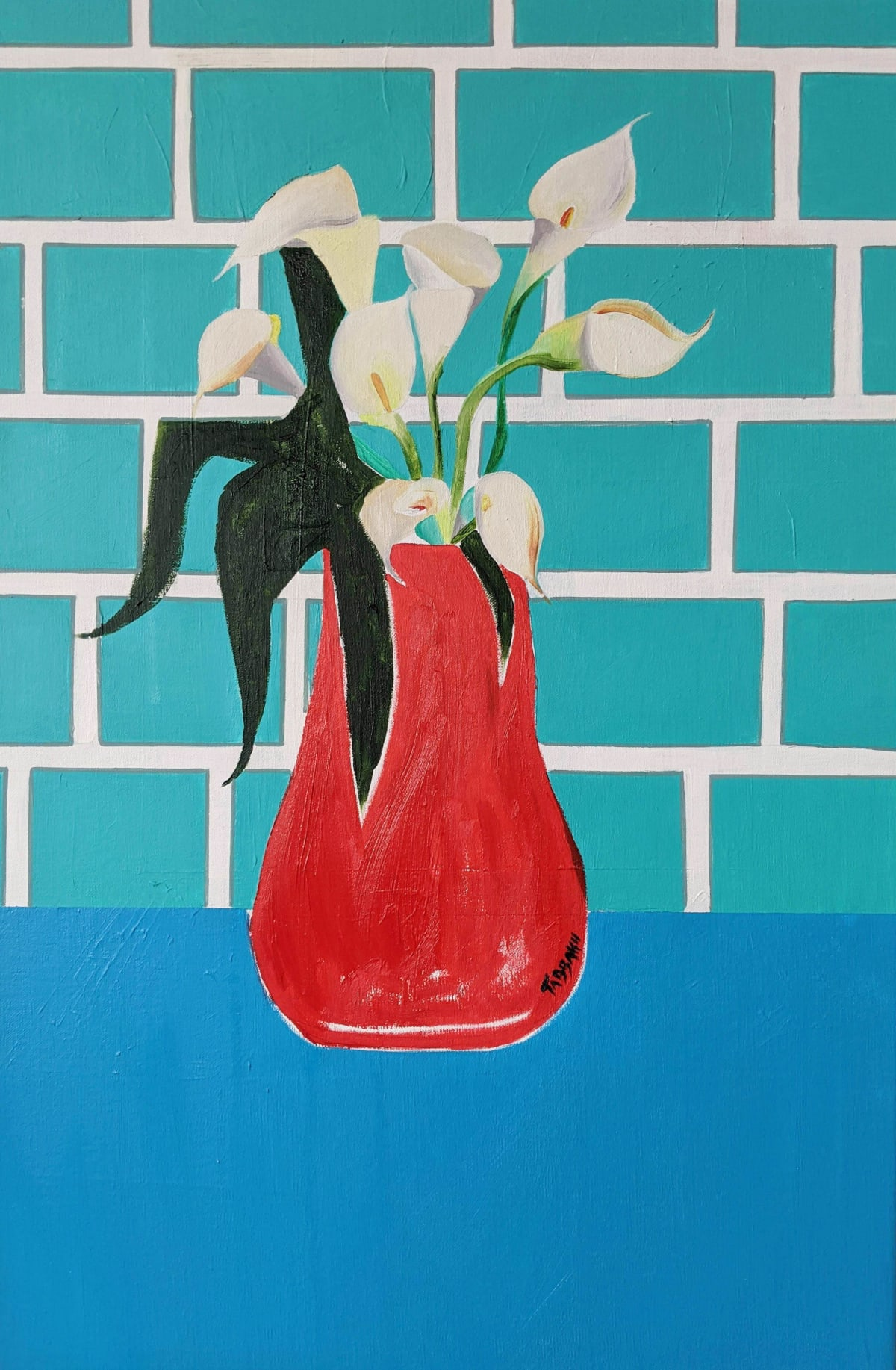 Cathy Tabbakh Dirty Calla Lilies, 2020 Oil, Acrylic and Oil Pastels on Canvas 40 x 60 cm 15 3/4 x 23 5/8 in