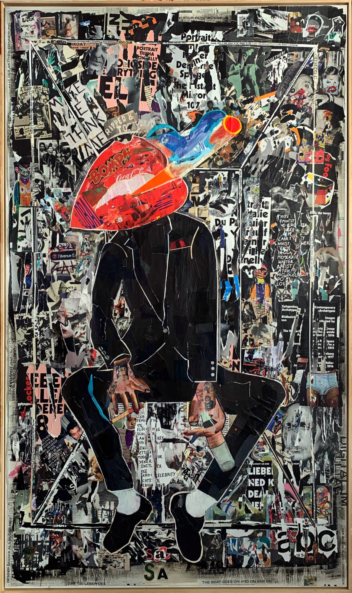 Sasha Knezevic Raucherpause (Smoko), 2019 Mixed Media (Collage) on Canvas 200 x 120 cm 78 1/2 x 47 1/2 in