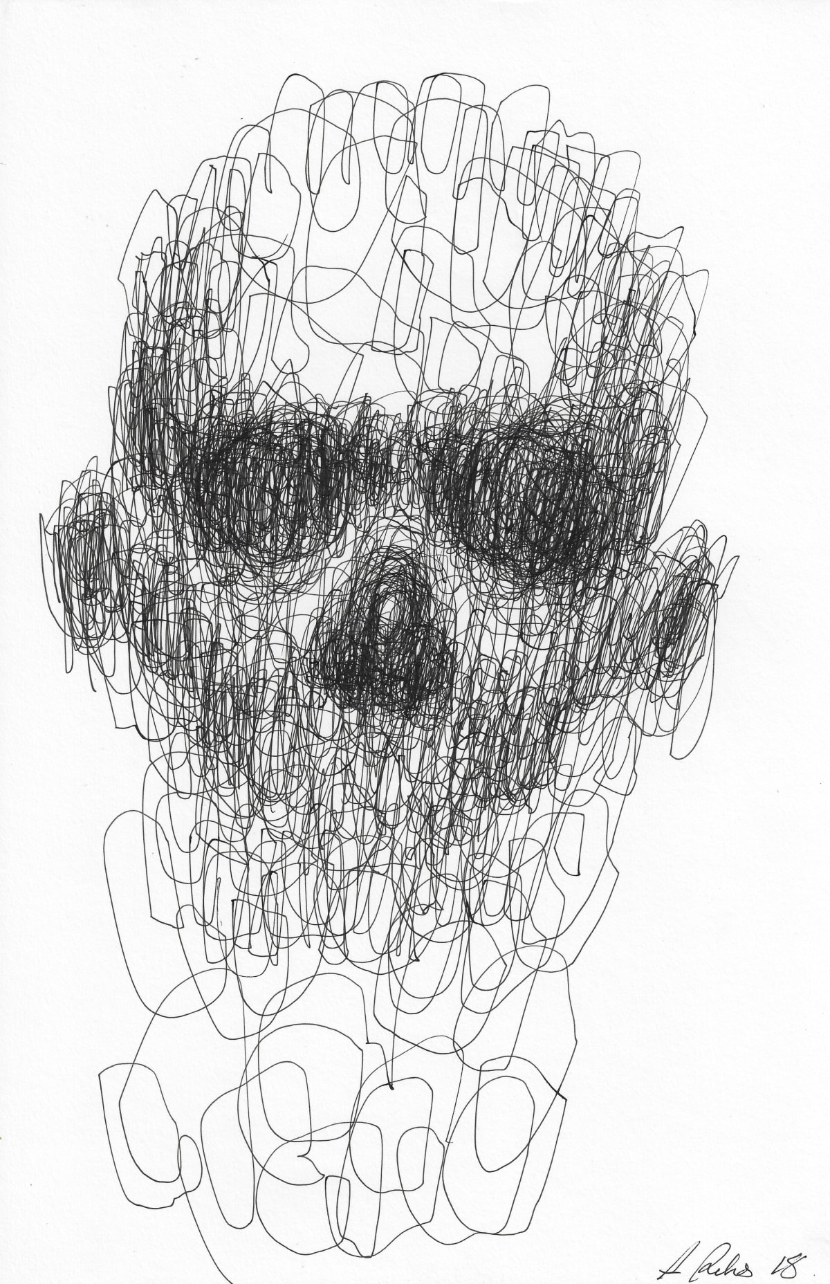 Adam Riches Untitled A3-13-005, 2018 Pen on Paper 27.6 x 42 cm 10 7/8 x 16 1/2 in