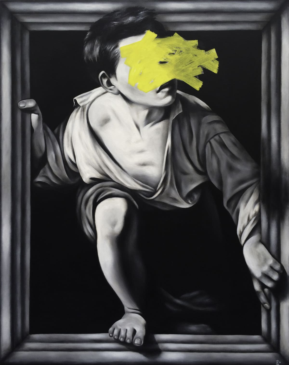 Petra von Kazinyan Escape, 2014 Acrylic & liquid chalk on canvas 39 1/2 x 31 1/2 in 100 x 80 cm