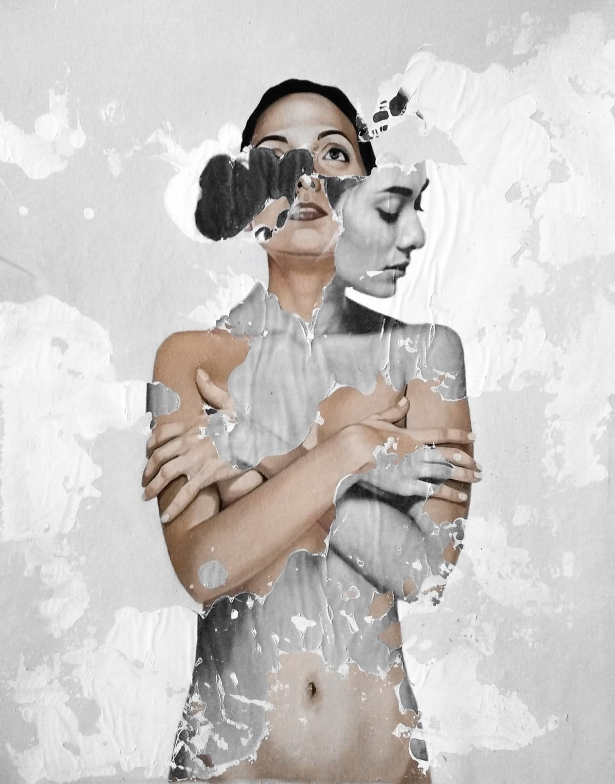 Raul Lara Spiritum Novum, 2018 Mixed media and image transfer on canvas 80 x 60 cm 31 1/2 x 23 1/2 in