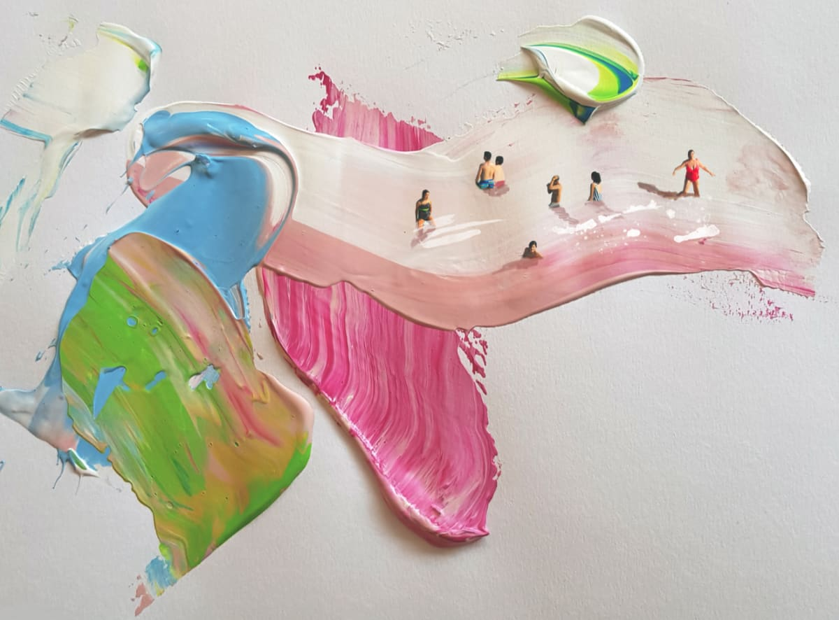 Golsa Golchini At the Pink Sea, 2019 Mixed Media on Paper 21 x 29 cm 8 1/2 x 11 1/2 in