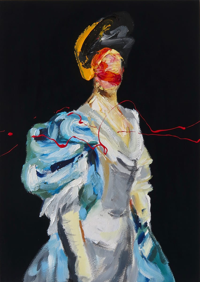 Frans Smit After Sargent with yellow , 2019 Oil and Acrylic on Paper 23 x 33 cm 9 1/8 x 13 in
