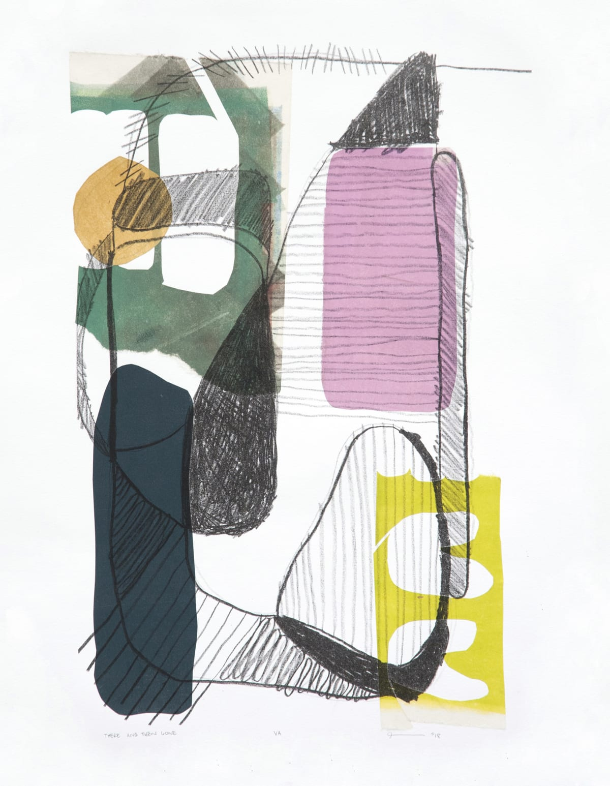 Julia Sorboro There and Then Gone (Varied Edition), 2018 1 color lithograph with chine collé on Rives BFK 50.8 x 40.6 cm 20 x 16 in