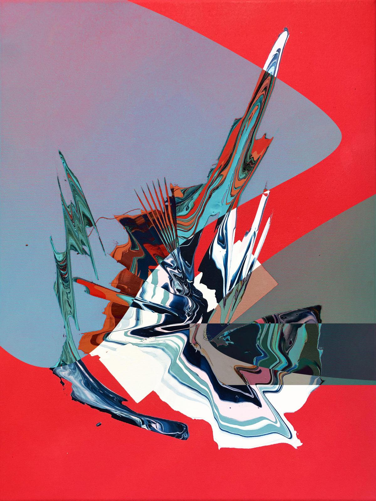 Jay Jermyn Filtration 007, 2019 Acrylic & Spray Paint on Canvas 61 x 45.7 cm 24 1/2 x 18 in