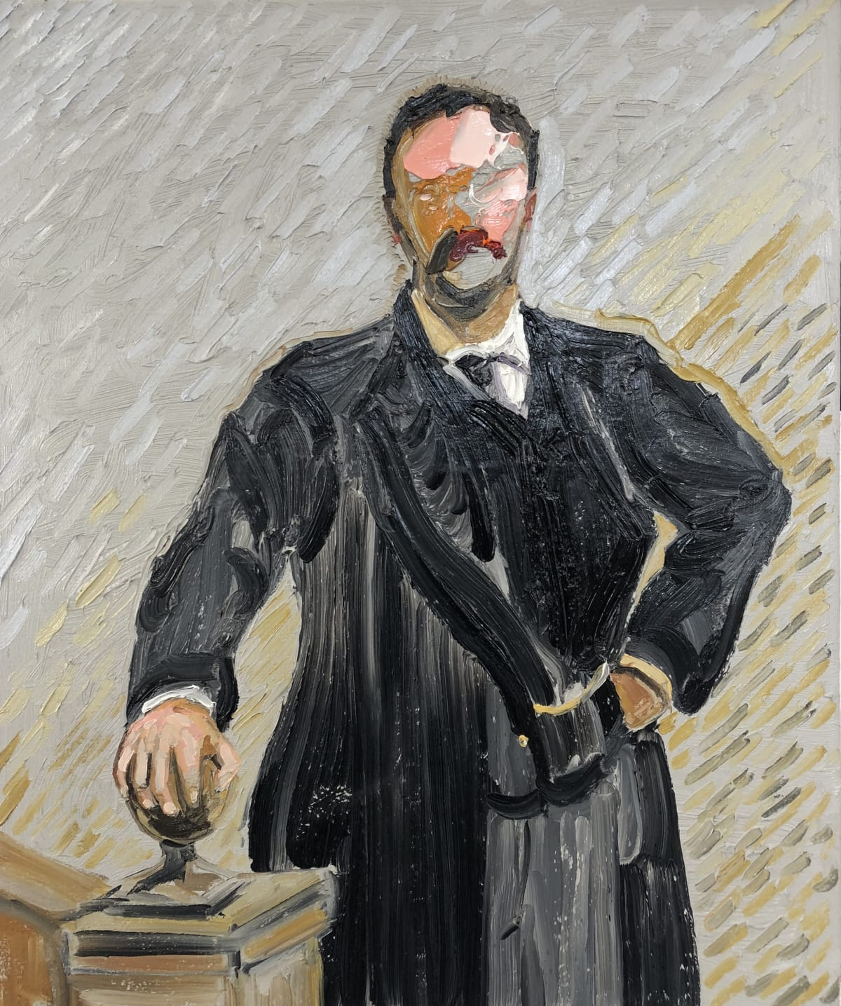 Frans Smit After Sargent, Man in Black Suit, 2018 Oil on Canvas 23 1/2 x 19 1/2 in 60 x 50 cm