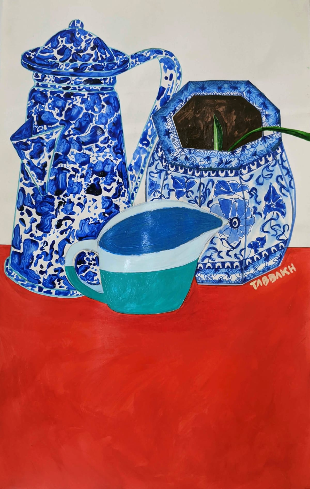 Cathy Tabbakh Teapot, Plant Pot and Gravy Pot , 2020 Acrylic, Ink, Watercolour and Oil Pastels on Paper 40 x 25 cm 15 3/4 x 9 7/8 in