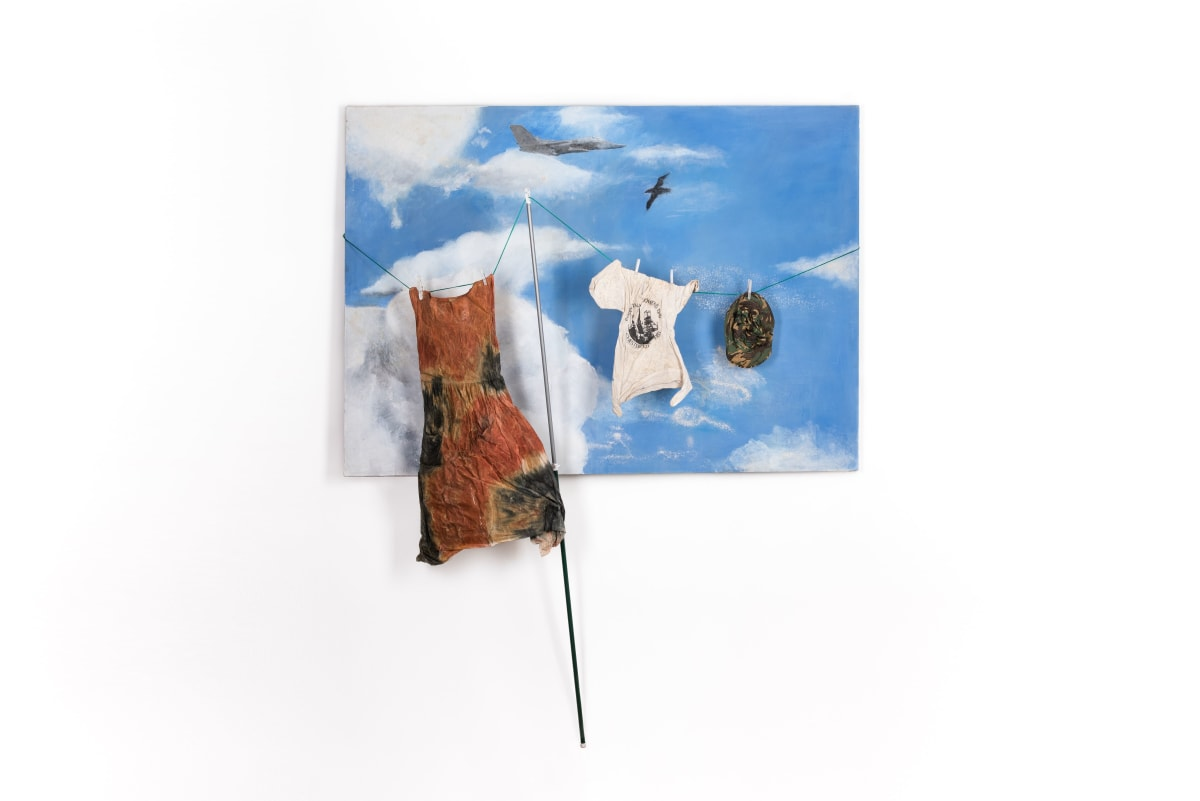 Sue ATKINSON Laundered Air America Plane Flies Over Home , 1986 Mixed media 152 x 213 cm 59 7/8 x 83 7/8 in