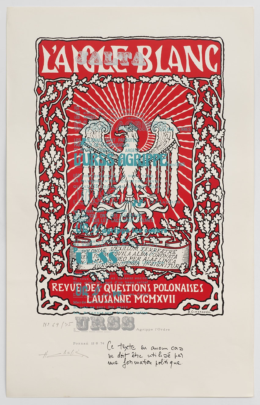 Henri CHOPIN L'URSS agrippe l'ordre. L'aigle blanc, 1974 Red screen-print on white cardboard 76.4 x 46.8 cm Edition 69 of 75
