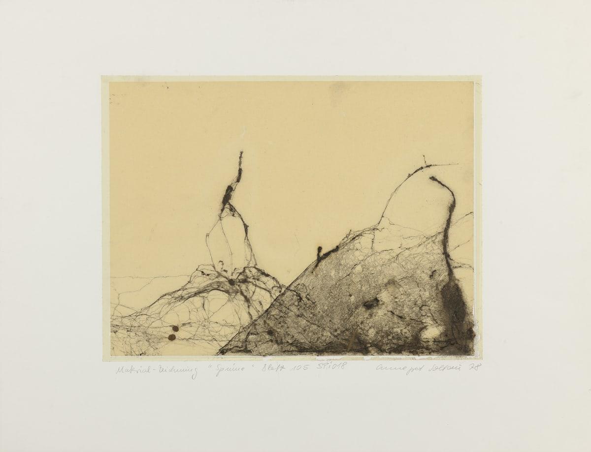 Annegret SOLTAU Spinne (Spider), 1978 Spider web drawing under plastic laminate Mounted: 50 x 65 cm Image: 30 x 40 cm Unique