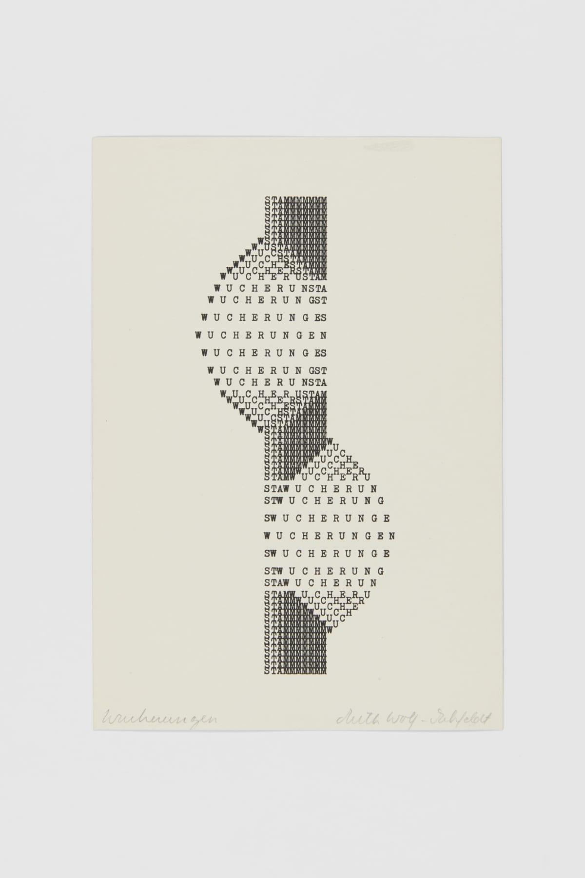 Ruth WOLF-REHFELDT Wucherungen, 1980 print (zinc lithograph) 21.5 x 14.8 cm