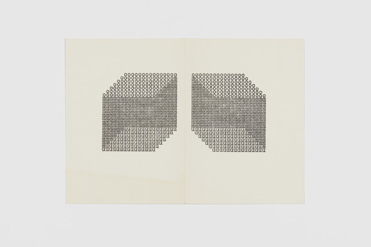 Ruth WOLF-REHFELDT Zeichenraume, 1979 card (folded, zinc lithograph) 14.6 x 20.8 cm (unfolded)
