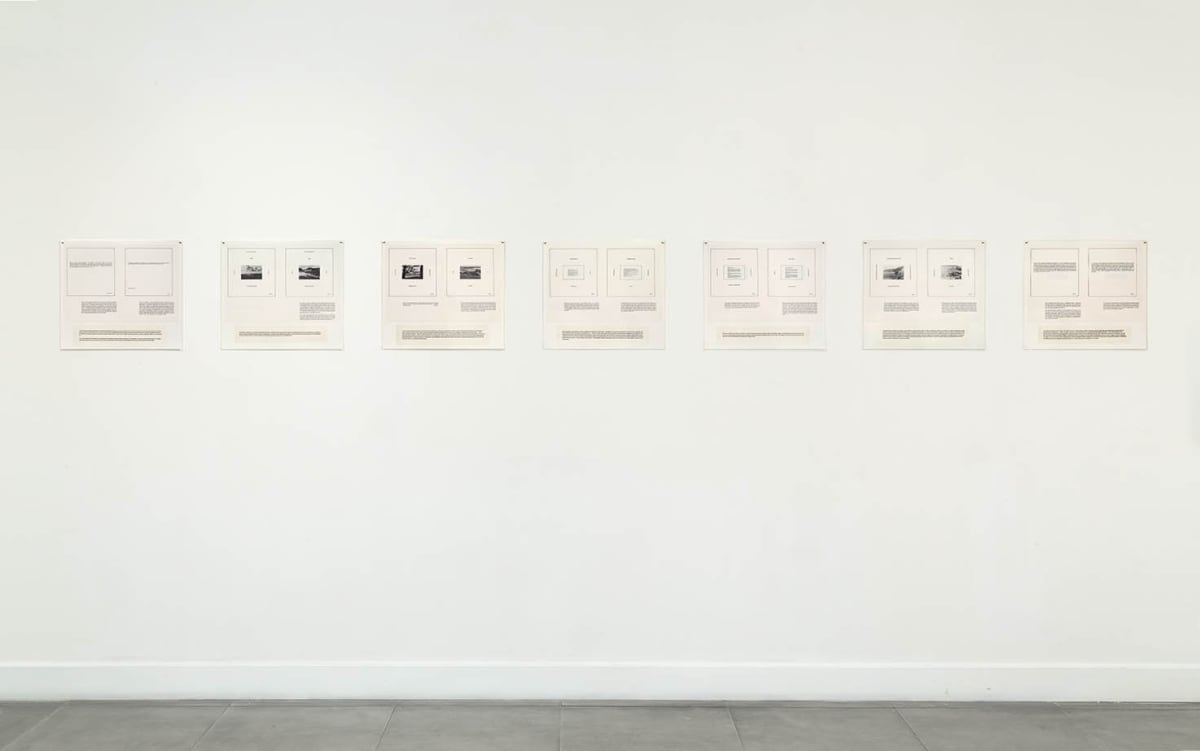 Marie YATES Texts, 1977-79 7 laminated panels. Vintage and unique 39 x 45 cm each