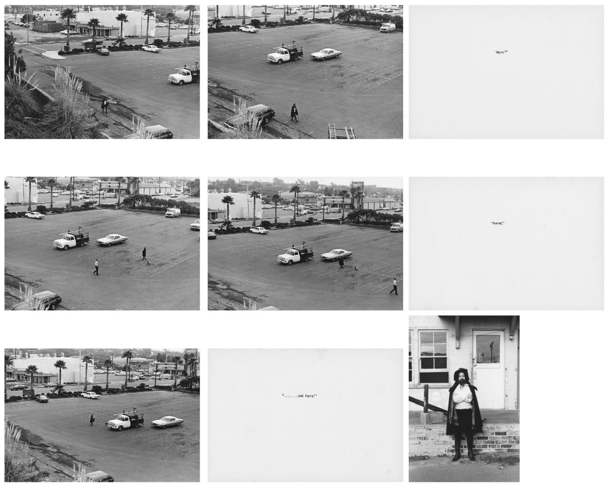 Eleanor ANTIN Here?, 1974 Set of 9 unique mounted black and white photographs; 6 mounted vintage gelatin silver prints; 3 text panels Eight works, each: 17 x 25 cm One work: 23.5 x 16 cm