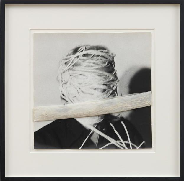 Francoise JANICOT Encoconnage – Cocoon, 1975 Gelatin silver print, silk paper and cord, unique 31 x 30 cm