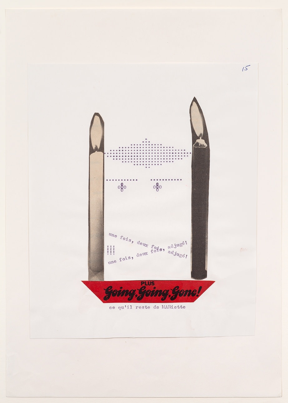Henri CHOPIN Going, Going, Gone!, 1972 typewriter poem, collaged, letraset Unframed: 21 x 17 cm Framed: 48 x 39 cm