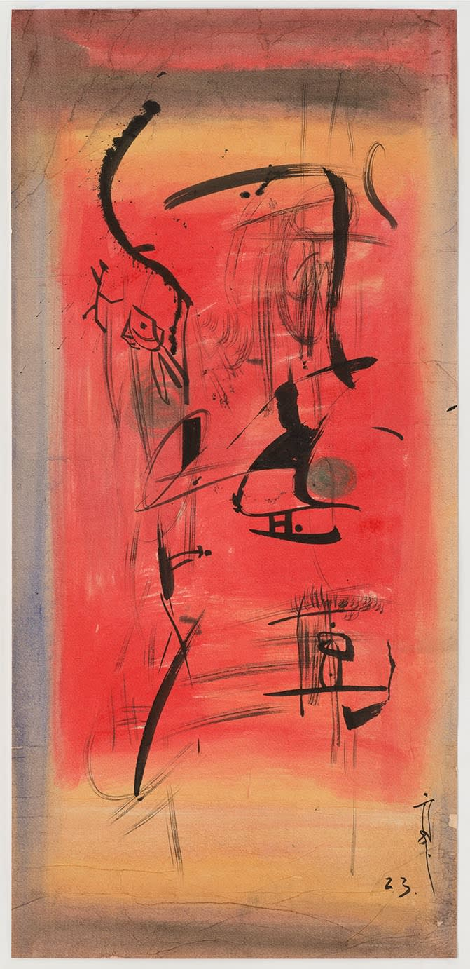 Li YUAN-CHIA Untitled, 1958 c. Chinese calligraphy brush ink and watercolour on paper 78.3 x 36 cm