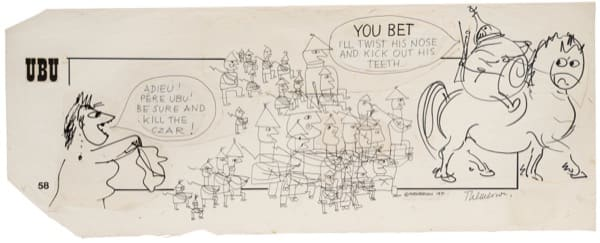 Franciszka THEMERSON Comic strip 58 (of 90), 1970 ink and pen on paper, collage Framed: 46 x 102 cm Image size: 36 x 90 cm
