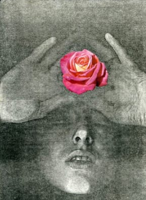 Penny SLINGER La Vie en Rose, 1976 Xerox self body print with collage 29.8 x 21 cm