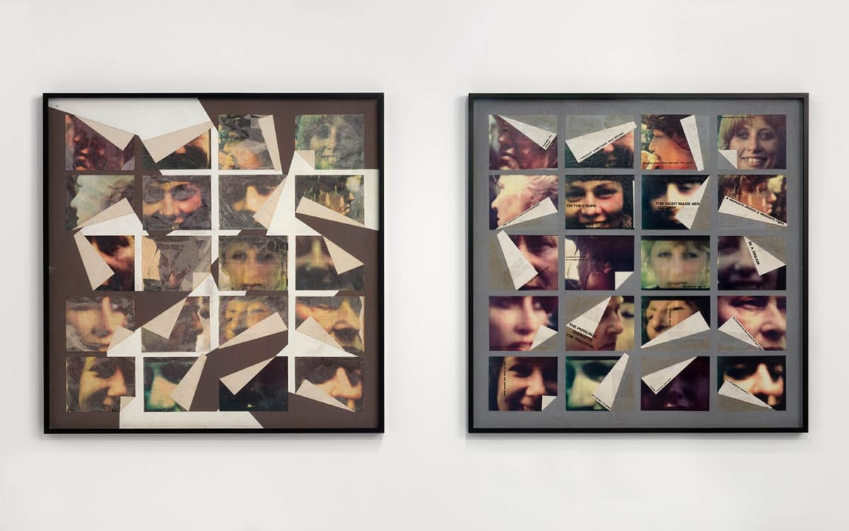 Marie YATES Image/woman/text, 1979 Collage of photos, texts, paper and paint on 2 wooden boards. Vintage and unique 122 x 122 cm each