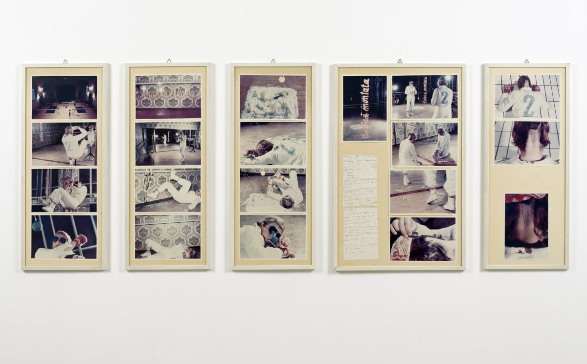Gina PANE Action II Caso no 2 sul ring [Action The Case n.2 on the ring], 1976 Five framed panels, comprising twenty colour photographs with two paper sheets of handwritten text, accompanied by twenty preparatory drawings for the performance. 1 panel: 70 x 46 cm 4 smaller panels: 70 x 30 cm Unique