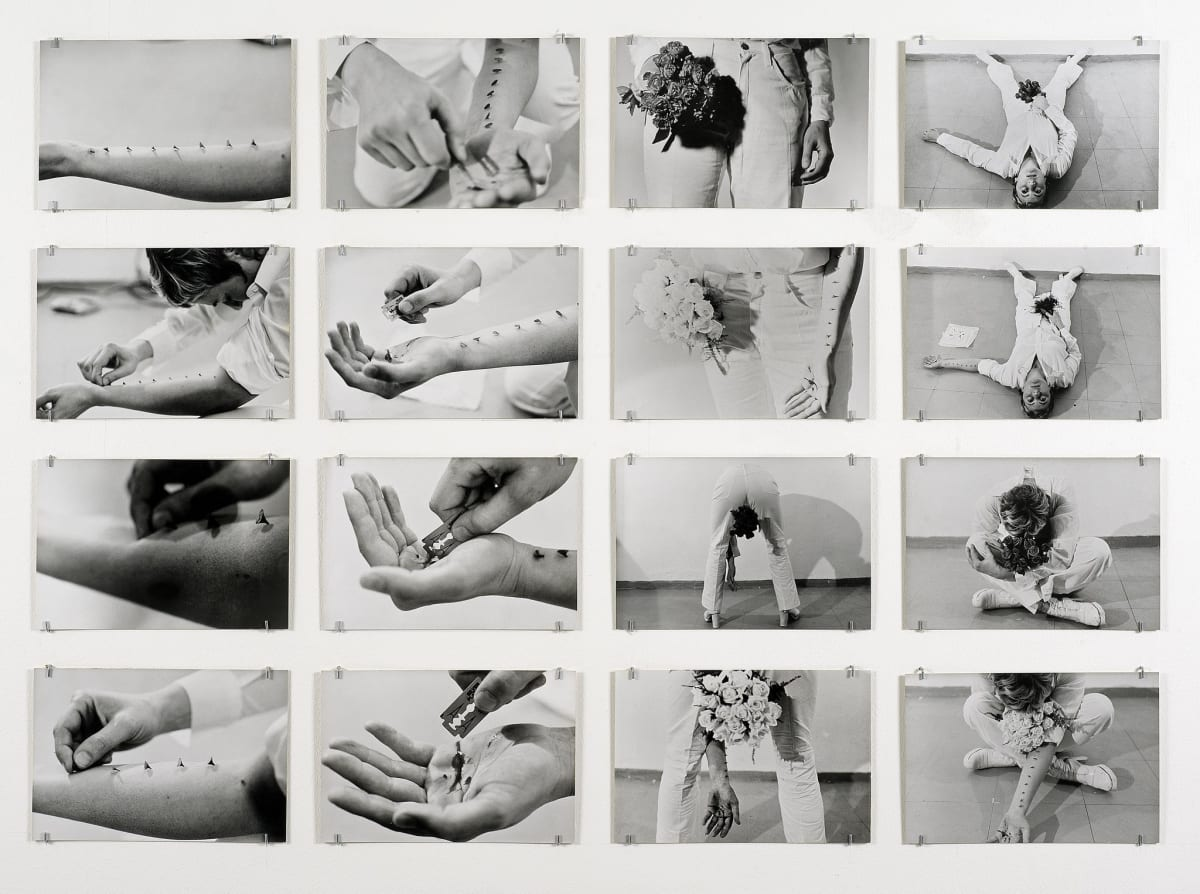 Gina PANE Azione Sentimentale, 9 novembre 1973, 1973 Portfolio consisting of sixteen black and white vintage silver prints, each laminated on board, contained in original blue cloth box Each sheet: 20 x 29.5 cm Edition of 80 (it is believed that no more than 30 were realised)