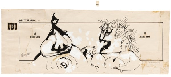 Franciszka THEMERSON Comic strip 1 (of 90), 1970 ink and paint on paper, collage Framed: 46 x 102 cm Image size: 36 x 90 cm