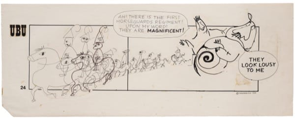 Franciszka THEMERSON Comic strip 24 (of 90), 1970 ink and pen on paper, collage Framed: 46 x 102 cm Image size: 36 x 90 cm