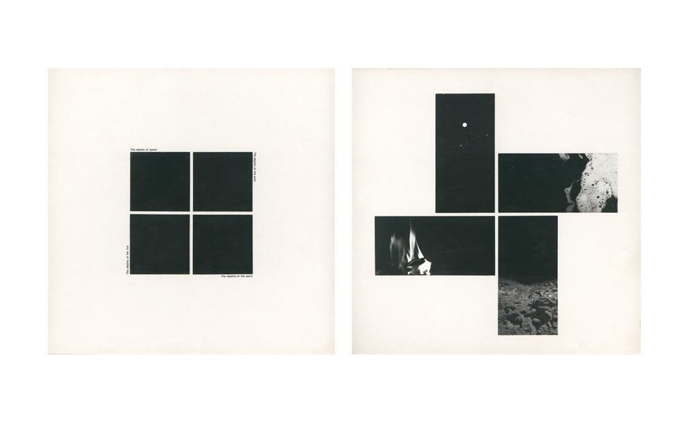 John HILLIARD Black Depths (1), 1974 Black and white print and Letraset on museum board 2 parts. 72 x 72 cm each Edition 1 of 2