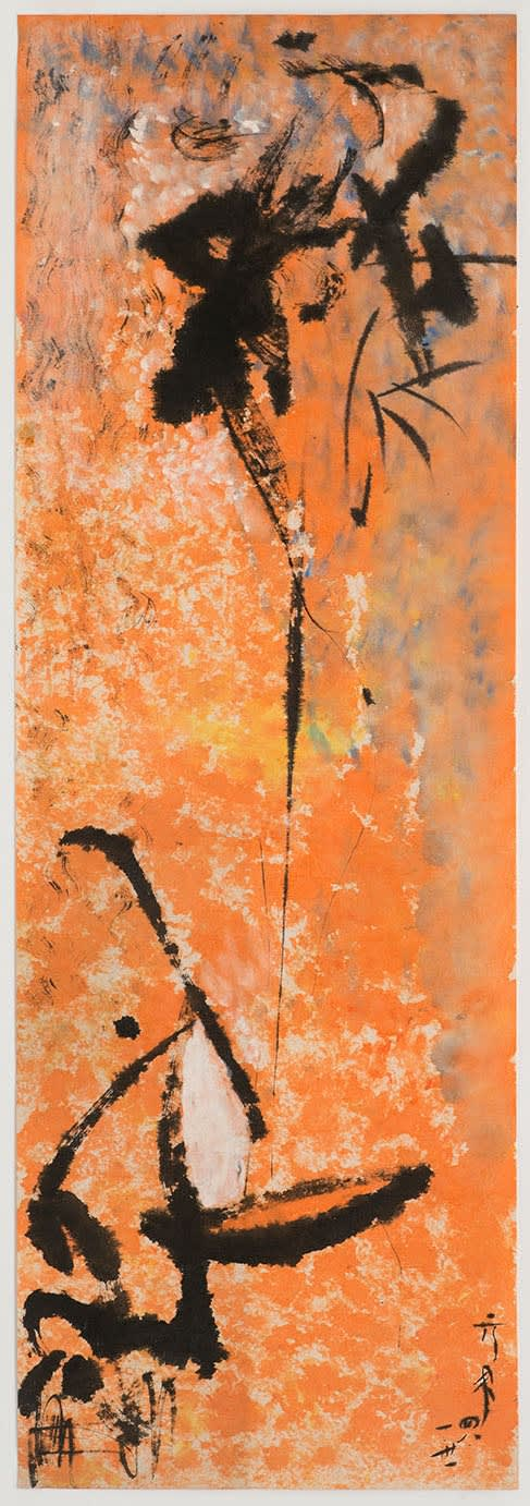 Li YUAN-CHIA Untitled, 1959 Chinese calligraphy brush ink and watercolour on paper 82 x 27.6 cm