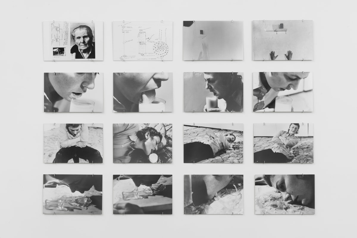 Gina PANE Action Transfert, 19 avril 1973, 1973 Portfolio consisting of sixteen black and white vintage silver prints, each laminated on board, contained in original blue cloth box Each sheet: 19.5 x 29.5 cm