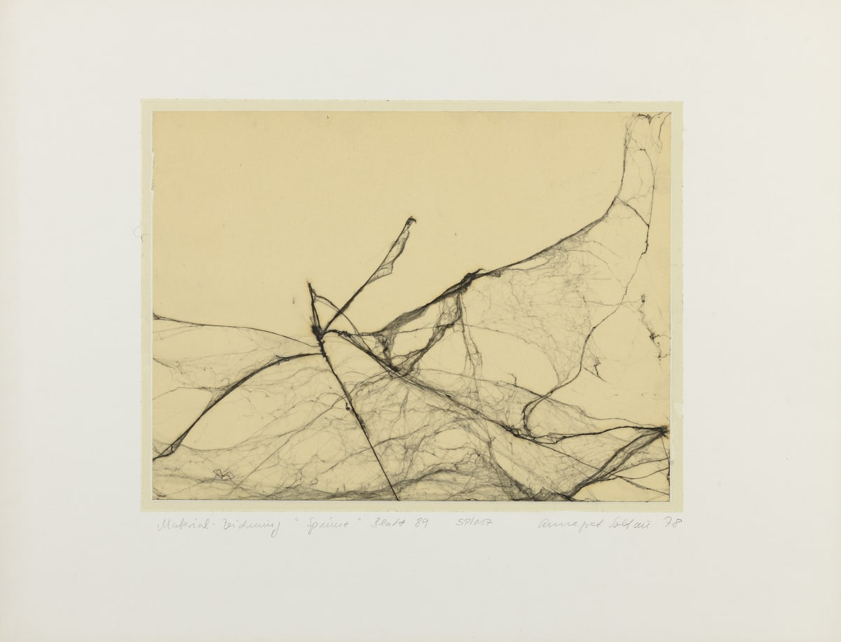 Annegret SOLTAU Spinne (Spider), 1978 Spider web drawing under plastic laminate. Mounted: 50 x 65 cm Image: 30 x 40 cm Unique