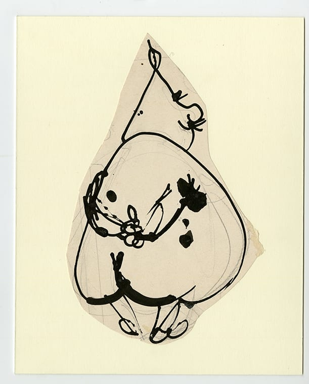 Franciszka THEMERSON Père Ubu, Musing, 1969 ink on paper, collage 25 x 20 cm