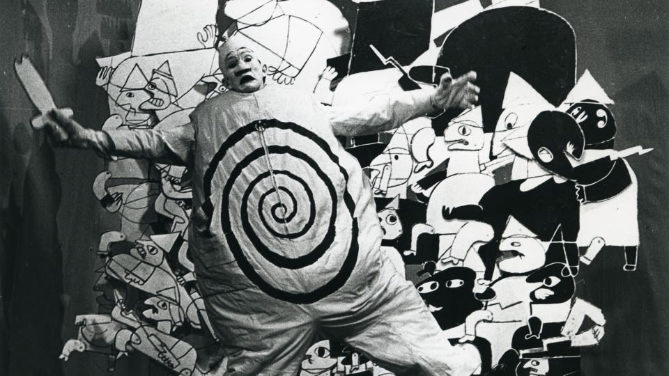 Franciszka THEMERSON Ubu Roi fighting the Russian Army, 1964 digital print mounted on board 122 x 182 cm